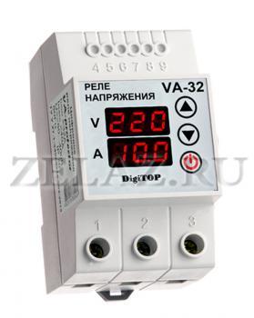 Реле напряжения с контролем тока VA-protector 32A -  фото