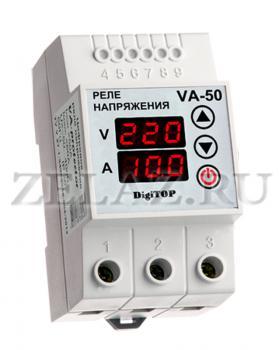 Реле напряжения с контролем тока VA-protector 50A - фото
