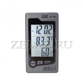 Гигрометр-термометр DT-322 (с часами, будильником и календарем) - фото